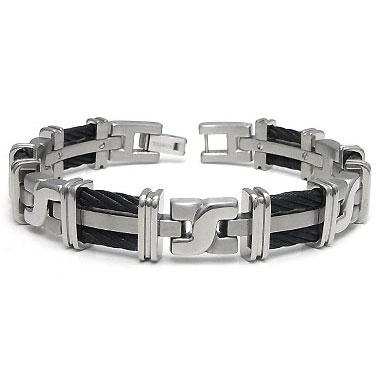 """Titanium Kay Men's Grey Titanium Black Twisted Double Cable Link Bracelet  (Length 7"""" - 10"""") at Sears.com"""