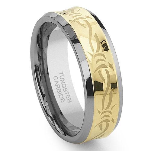 Titanium Kay Concave Gold Barb Wire Tungsten Carbide Wedding Band Ring