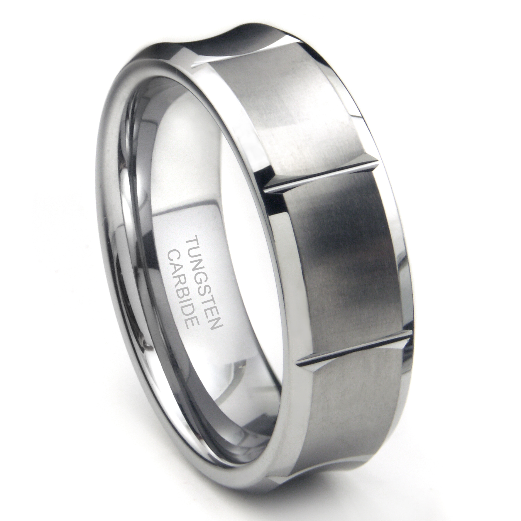 Titanium Kay Tungsten Carbide Concave Wedding Band Ring w/ Horizontal Grooves