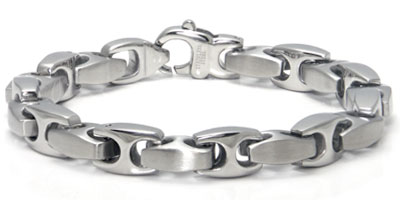 Stainless Steel Link Two-Tone Finish Men's Bracelet