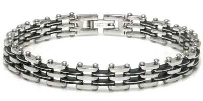 Stainless Steel Two Tone Bicycle Link Bracelet
