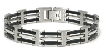 Stainless Steel 2+1 Black Resin Men's Bracelet
