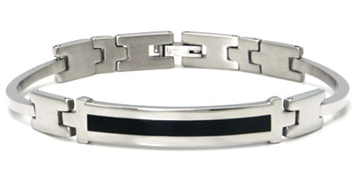 Stainless Steel Black Lacquer ID Link Bracelet