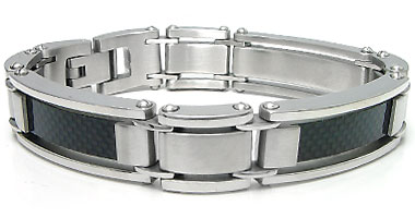 Stainless Steel Carbon Fiber Men's Bracelet