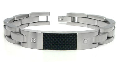 Stainless Steel Carbon Fiber Diamond ID Bracelet
