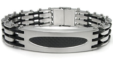 Stainless Steel Carbon Fiber Oval ID Bracelet