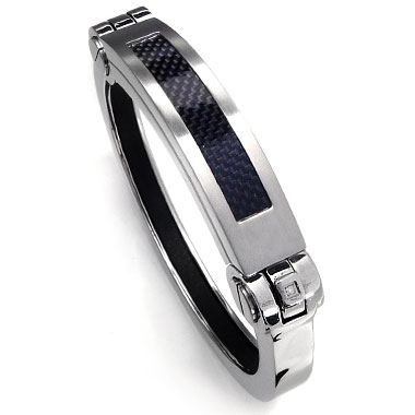 Stainless Steel Carbon Fiber Diamond Cuff Bracelet