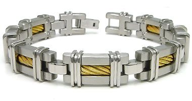 Titanium Golden Cable Link Bracelet