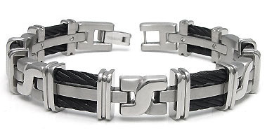 Men's Titanium Black Cable Link Bracelet :  cable jewellery titanium tungsten