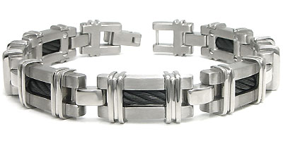 Men's Black Titanium Cable Link Bracelet