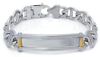 COLIBRI TAZER Engravable Stainless Steel Two Tone Bracelet