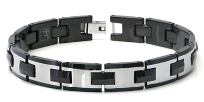 Tungsten Carbide Men's Black Link Bracelet