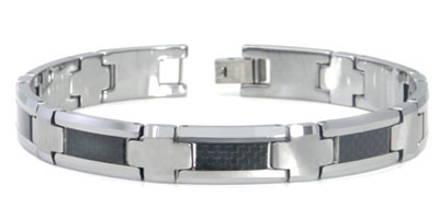 Tungsten Carbide Carbon Fiber Inlay Men's Bracelet