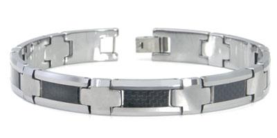 Tungsten Carbide Carbon Fiber Inlay Men's Bracelet