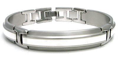 Edward Mirell Mens Titanium Silver Inlaid Link Bracelet :  bangle designer jewelry cuff