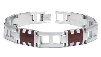 COLIBRI Stainless Steel Mother of Pearl & Wood Bracelet
