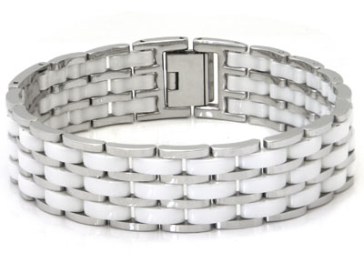 Stainless Steel 3 Row White Diamond Ceramic Bracelet