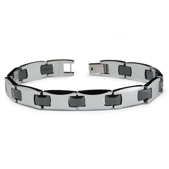 Tungsten Carbide Black Ceramic Men's Bracelet