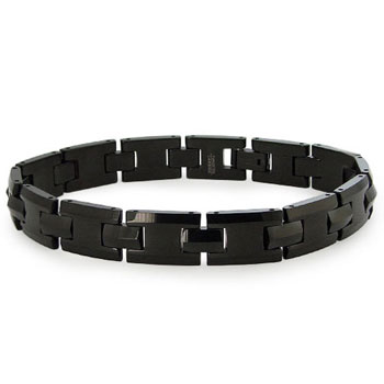 Black Tungsten Carbide Men's H-Link Bracelet