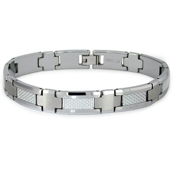 Tungsten Carbide White Carbon Fiber Inlay Men's Bracelet