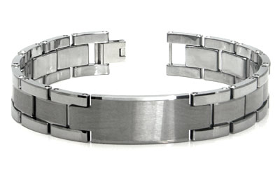 Tungsten Carbide ID Men's Bracelet
