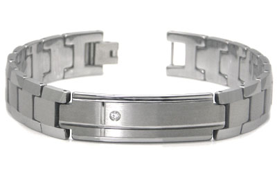 Tungsten Carbide Diamond ID Men's Bracelet