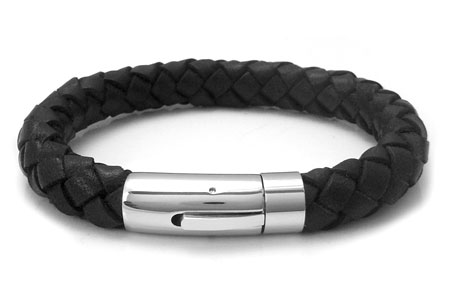 Stainless Steel Black Braided Leather Men's Bracelet