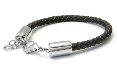 Stainless Steel Brown Braided Leather Bracelet