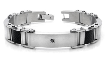 Stainless Steel Black Diamond Men's Bracelet