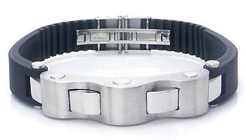Stainless Steel Rubber Men's Ribbed Bracelet