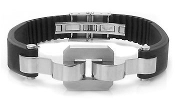 Stainless Steel Rubber Link Men's Bracelet
