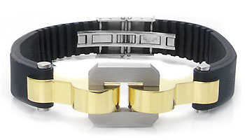 Stainless Steel Rubber Gold Plated Link Men's Bracelet