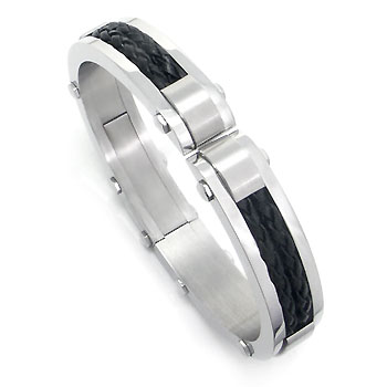 Stainless Steel Braided Leather Men's Cuff Bracelet
