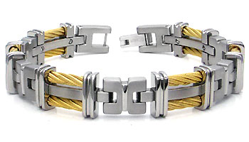 Titanium Double Golden Cable Link Bracelet :  man jewelry jewellery gold