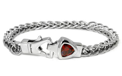 LAMBORGHINI Stainless Steel Bracelet w/ Red Crystals