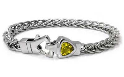 LAMBORGHINI Stainless Steel Bracelet w/ Yellow Crystals