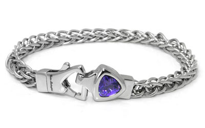 LAMBORGHINI Stainless Steel Bracelet w/ Purple Crystals