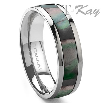 BARON Titanium Mother of Pearl 6mm Band Ring