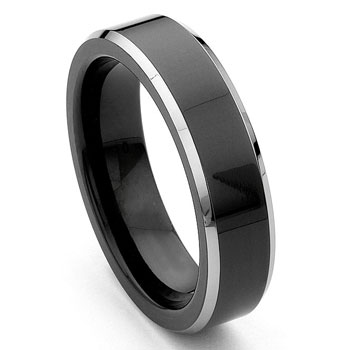 Black Tungsten 6mm Comfort-Fit Beveled Wedding Band Ring :  man wedding jewelry carbide