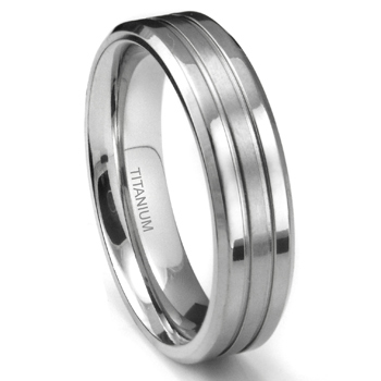 Titanium 6mm Grooved Wedding Flat Band Ring