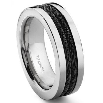 Titanium 8MM Double Black Cable Ring