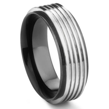 AZUR 2nd Generation Tungsten Carbide Two Tone Men's Wedding Ring,Band,forge,seranite,ZURNOV