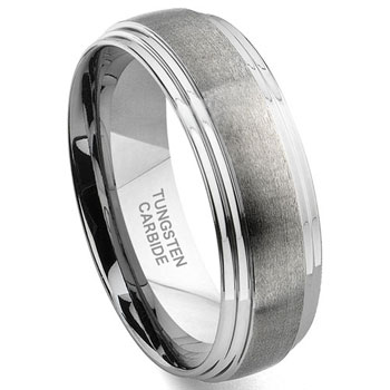 VINCI Tungsten Carbide Wedding Band Ring w/ Layered Edges