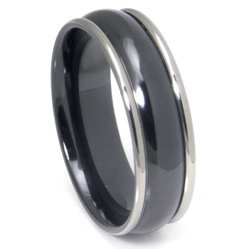 Black Zirconium Wedding Band Ring