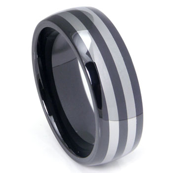 Black Ceramic Double Tungsten Inlay Dome Wedding Band Ring
