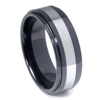 Black Ceramic Tungsten Inlay Wedding Band Ring
