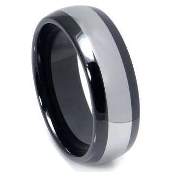 Black Ceramic Tungsten Inlay Dome Wedding Band Ring