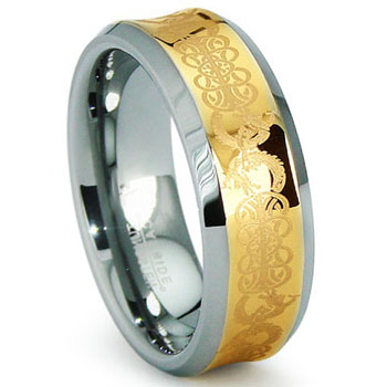 Concave Gold Celtic Tungsten Wedding Band Ring