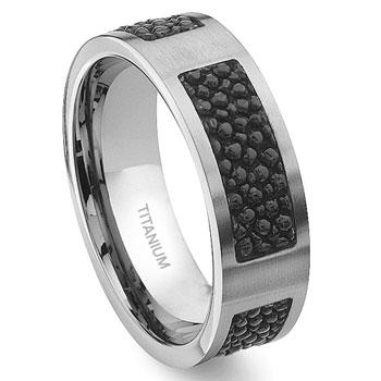 Titanium Black Stingray Leather Inlay Wedding Band Ring