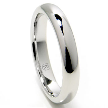 cobalt xf chrome 4mm plain high polish dome wedding band ring - Cobalt Wedding Rings